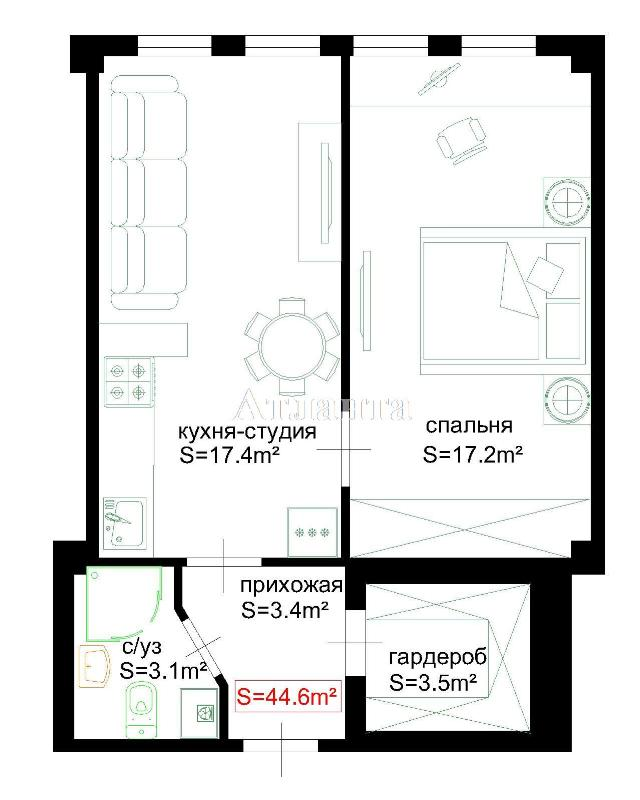 Продается 2-комнатная квартира на ул. Головатого Атам. (Богатова) — 34 900 у.е. (фото №2)