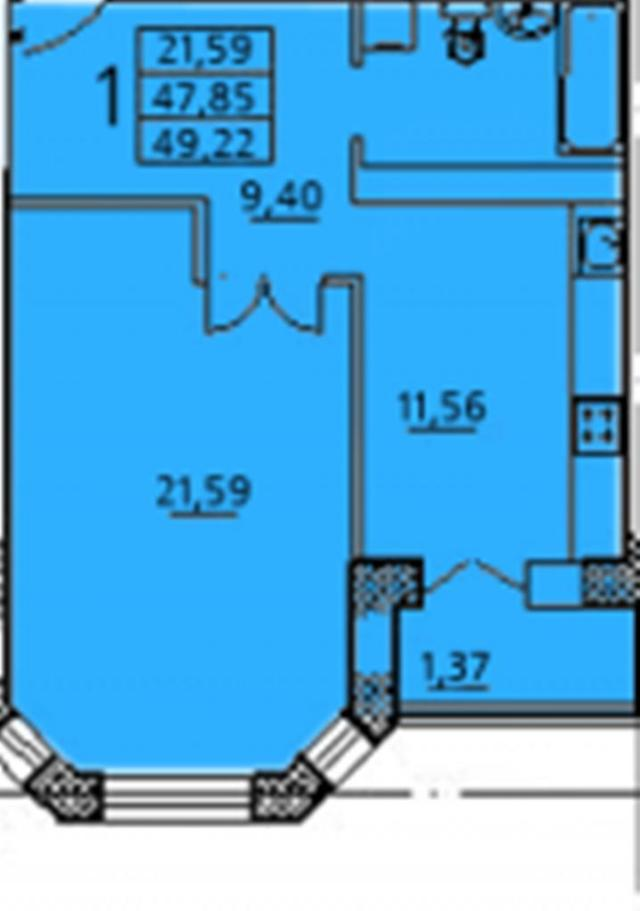 Продается 1-комнатная квартира на ул. Заболотного Ак. — 36 730 у.е.
