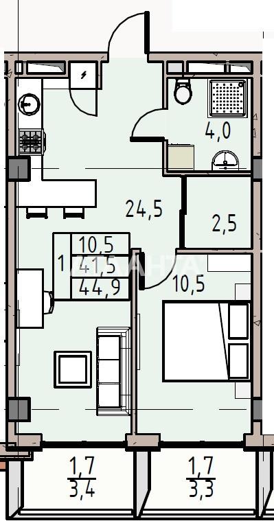 Продается 1-комнатная Квартира на ул. Донского Дмитрия — 43 550 у.е. (фото №2)