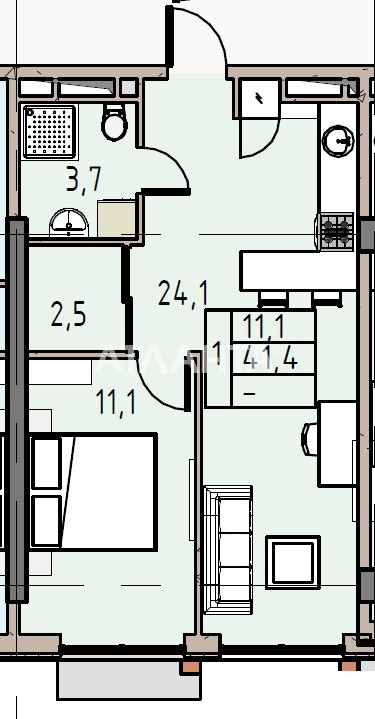 Продается 1-комнатная Квартира на ул. Донского Дмитрия — 39 710 у.е. (фото №3)