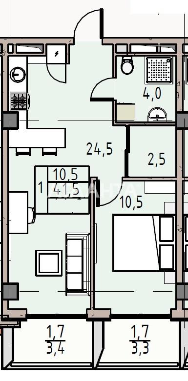 Продается 1-комнатная Квартира на ул. Донского Дмитрия — 42 940 у.е. (фото №2)