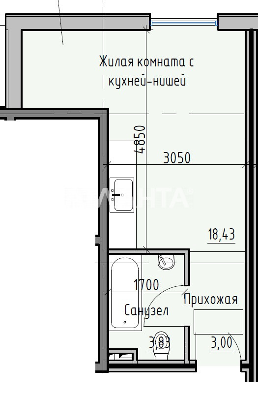 Продается 1-комнатная Квартира на ул. Раскидайловская (Станиславского) — 18 440 у.е. (фото №3)