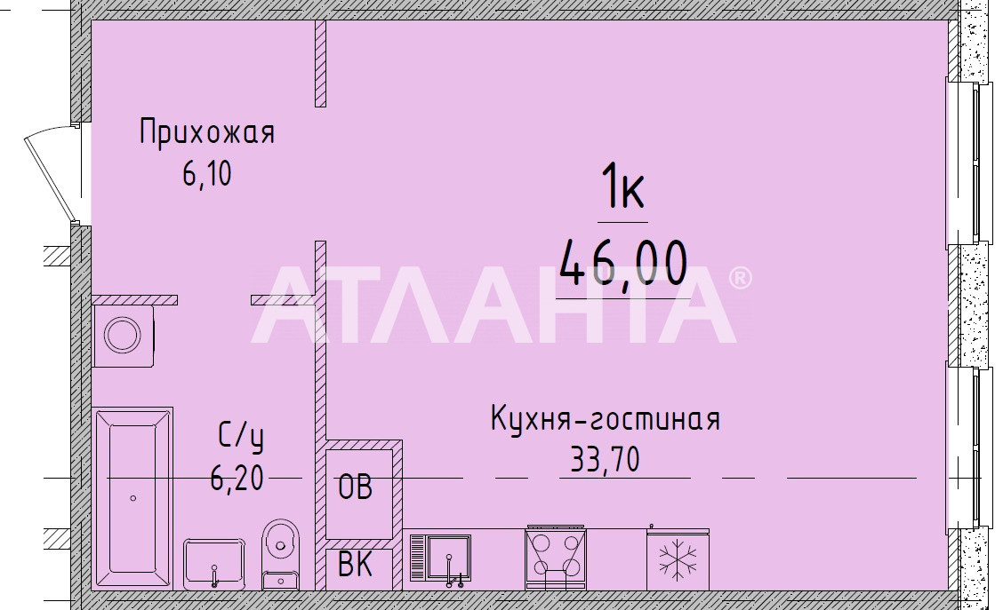 Продается 1-комнатная Квартира на ул. Гагаринское Плато — 45 700 у.е.