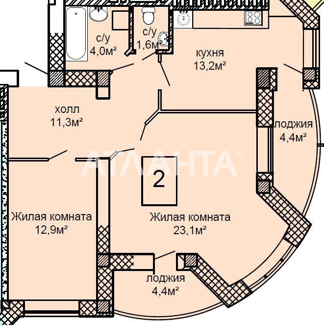 Продается 2-комнатная Квартира на ул. Костанди — 65 050 у.е.