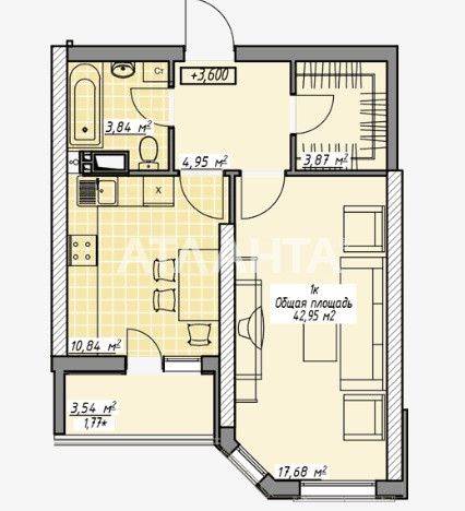 Продается 1-комнатная Квартира на ул. Генуэзская — 42 950 у.е. (фото №4)