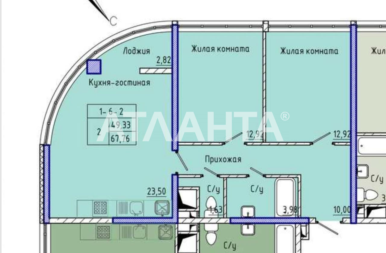 Продается 2-комнатная Квартира на ул. Каманина — 55 600 у.е. (фото №4)