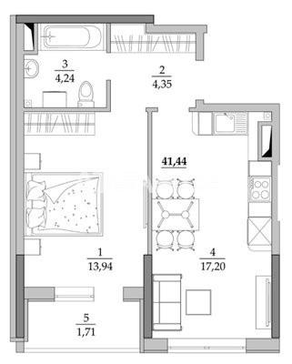 Продается 1-комнатная Квартира на ул. Вильямса Ак. — 27 500 у.е. (фото №2)