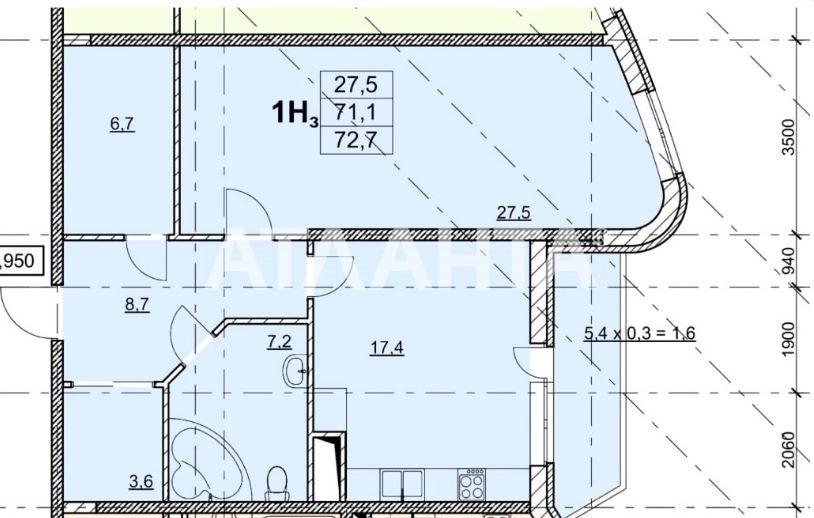 Продается 1-комнатная Квартира на ул. Гагаринское Плато — 61 800 у.е.