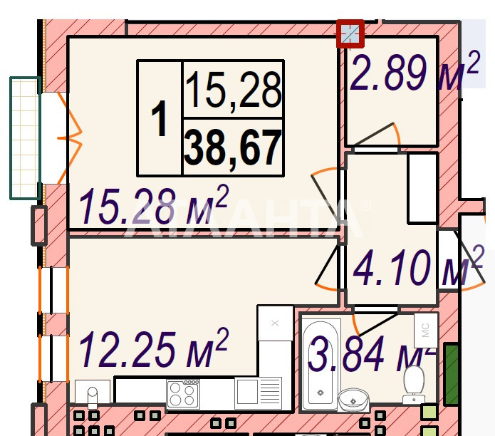 Продается 1-комнатная Квартира на ул. Майский Пер. — 57 660 у.е.