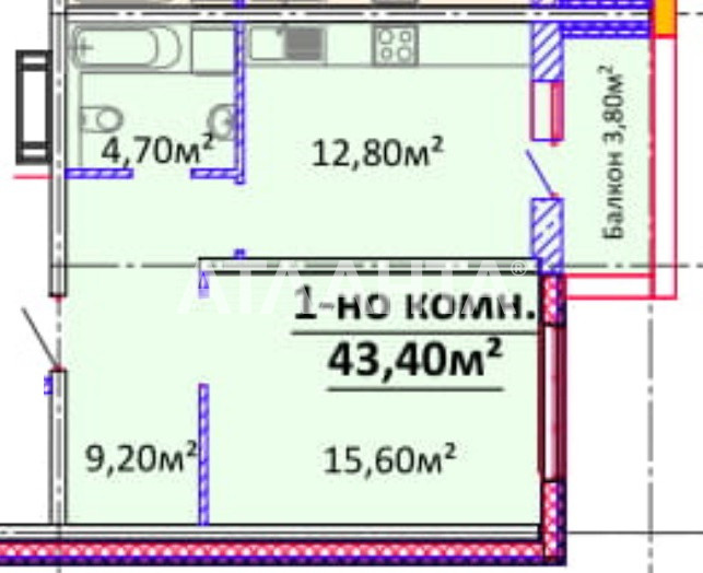 Продается 1-комнатная Квартира на ул. Гагарина Пр. — 49 910 у.е.