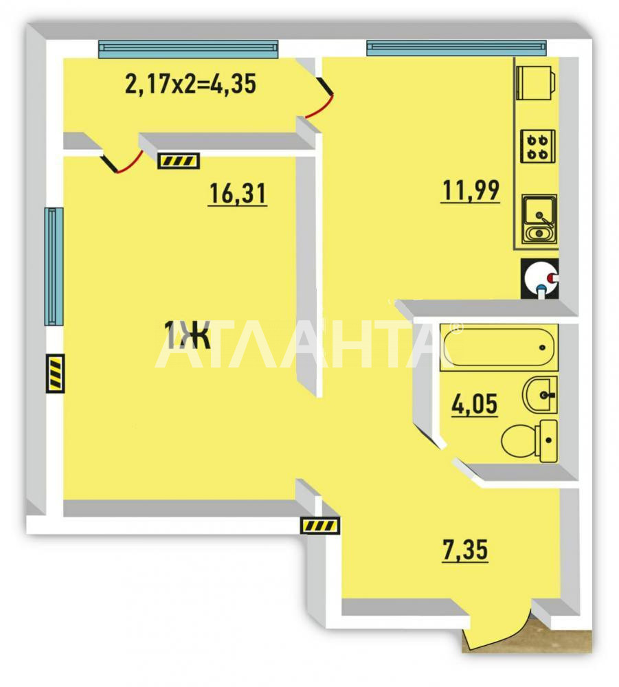 Продается 1-комнатная Квартира на ул. Радужный М-Н — 29 000 у.е. (фото №2)